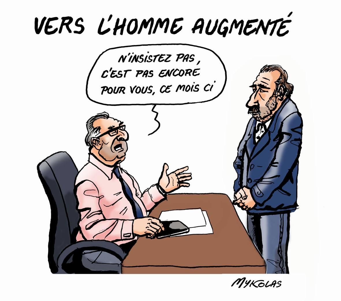 dessin humoristique d'un patron qui refuse une augmentation à son salarié