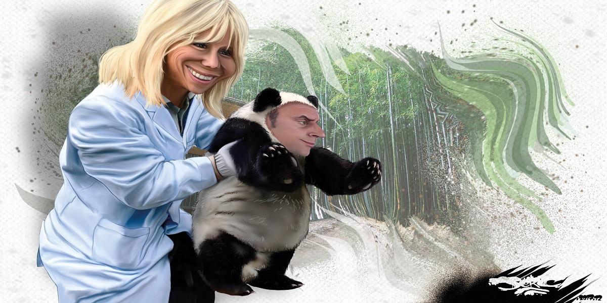 dessin humoristique de Brigitte Macron renant le bébé panda Emmanuel Macron
