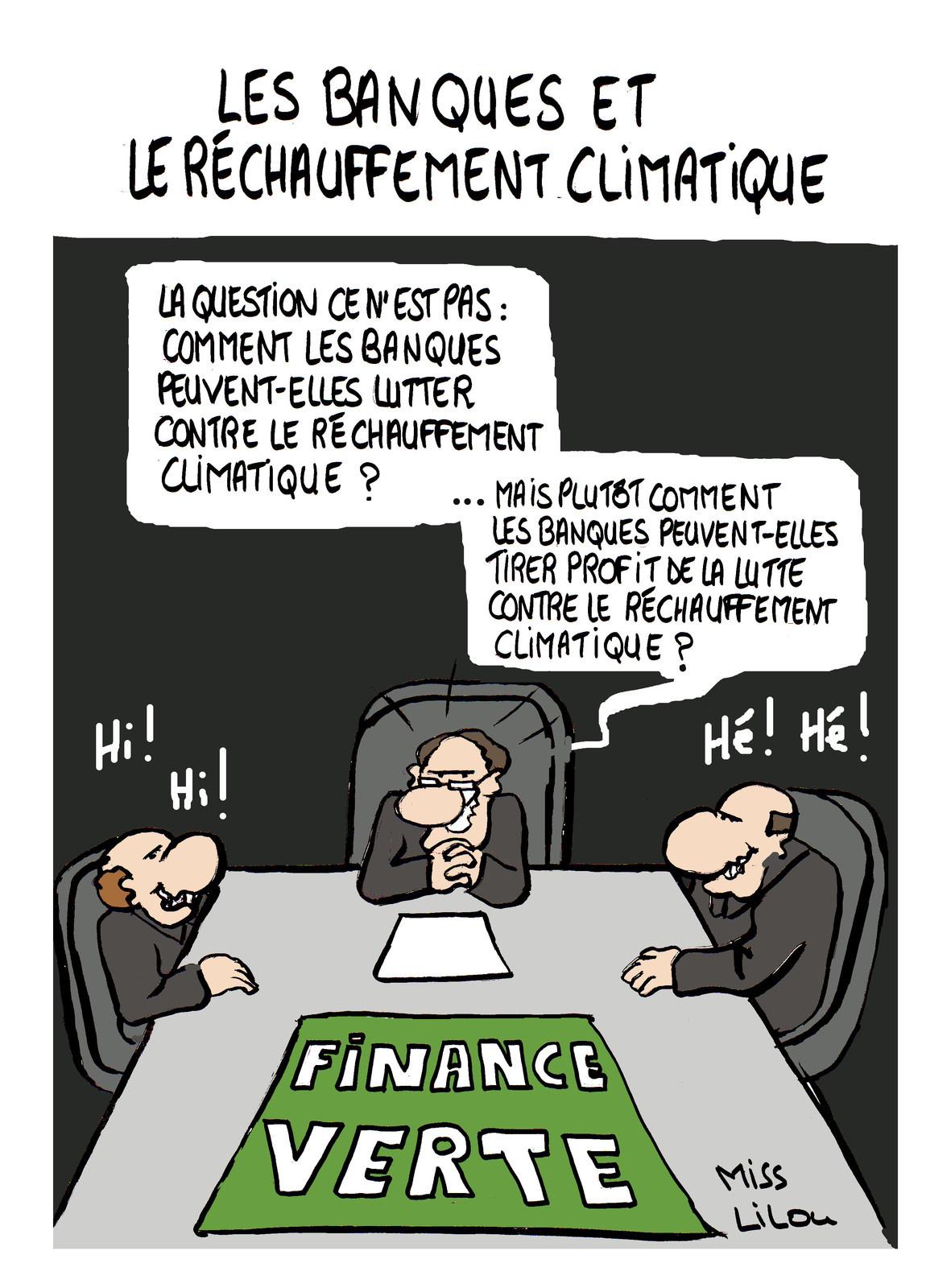 dessin humoristique de banquiers en train de profiter de la lutte contre le réchauffement climatique pour gagner de l'argent