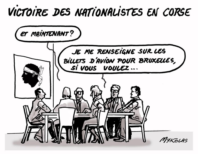 dessin humoristiques de nationalistes Corses débattant de ce qu'il va falloir faire après les résultats de l'élection