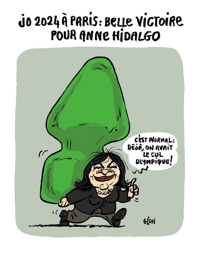 dessin humoristique d'Anne Hidalgo portant un plug anal géant