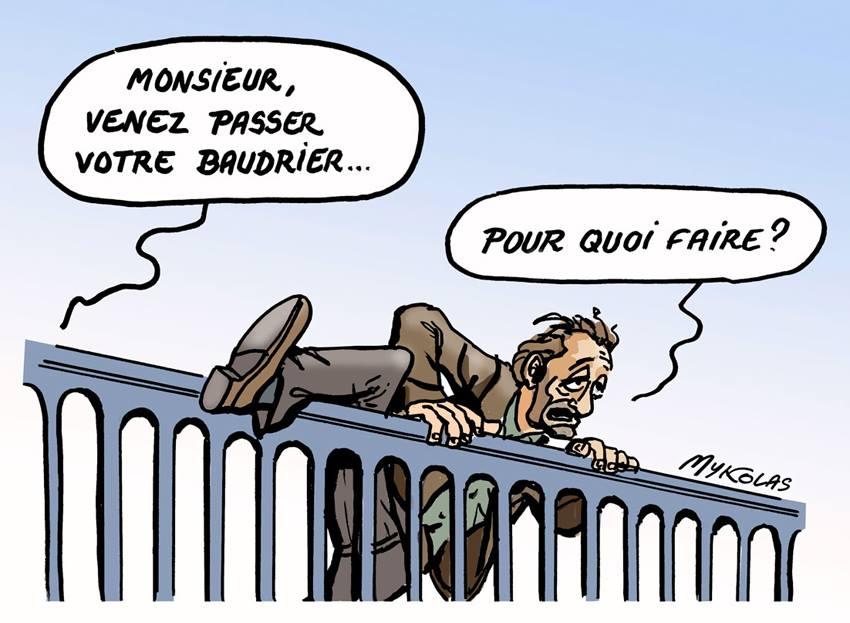 dessin humoristique d'un homme qui enjambe la rambarde d'un pont pour se suicider