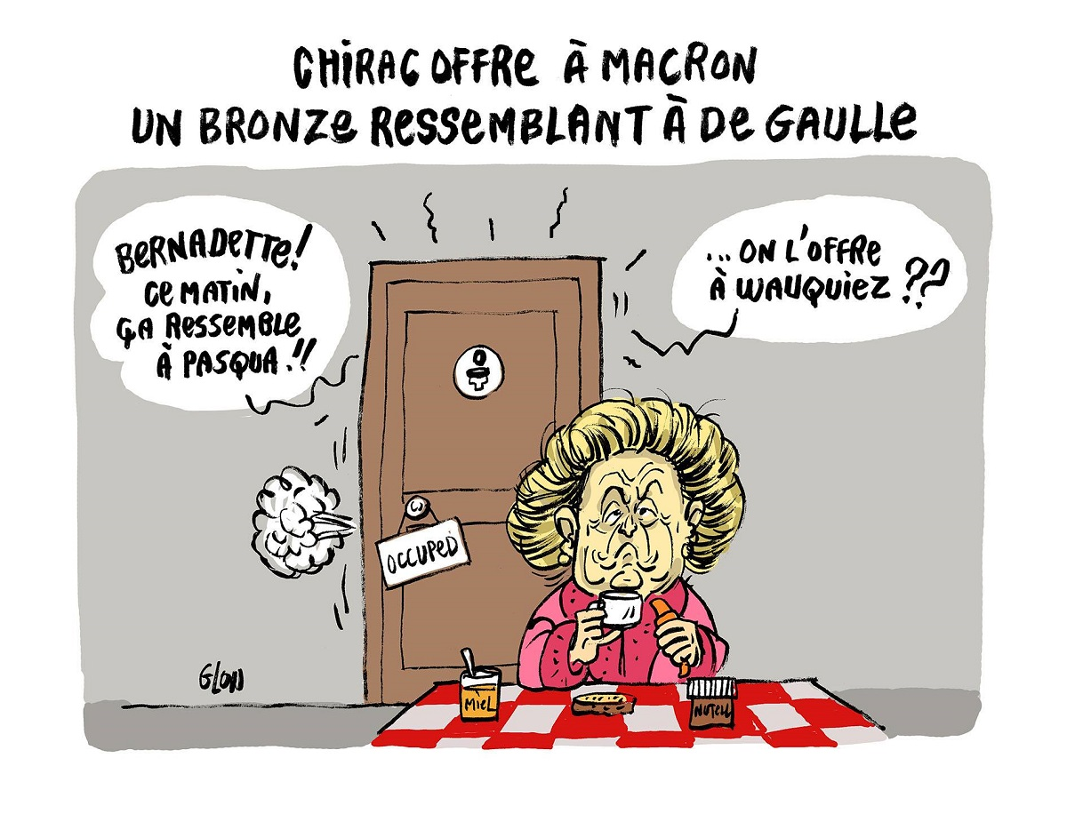 dessin humoristique de Jacques Chirac aux toilettes préparant un bronze pour Wauquiez