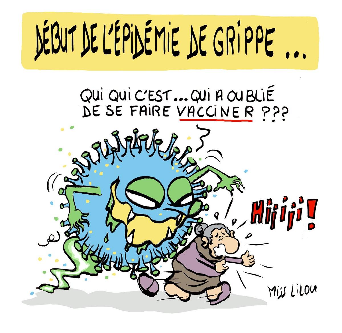 dessin humoristique d'un virus de la grippe poursuivant une personne âgée