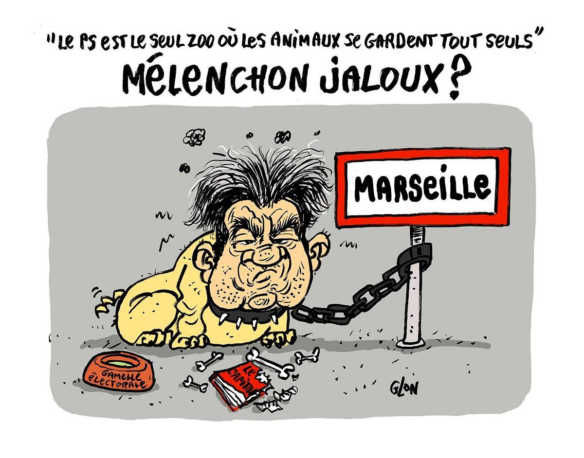 dessin humoristique de Jean-Luc Mélenchon en chien méchant attaché au panneau de Marseille