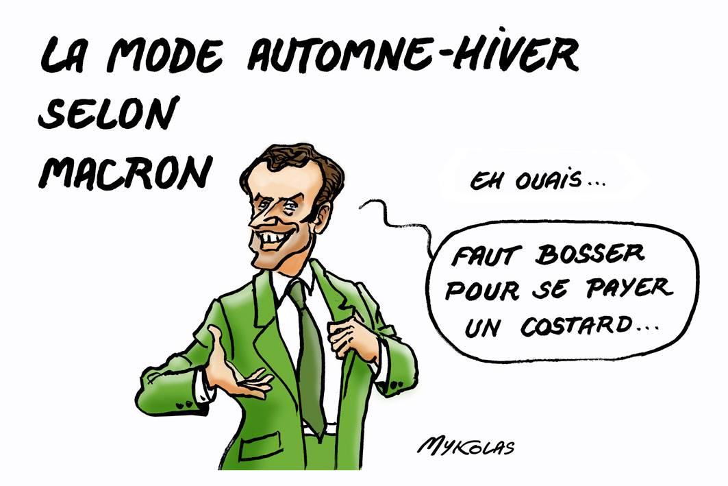 dessin humoristique d'Emmanuel Macron en costume vert parce qu'il a travaillé