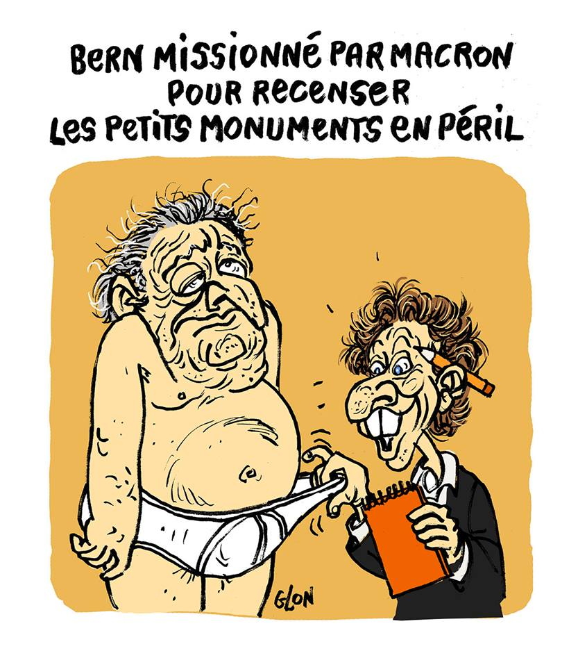 dessin humoristique de Stéphane Bern en train d'examiner le sexe de Dominique Strauss-Kahn