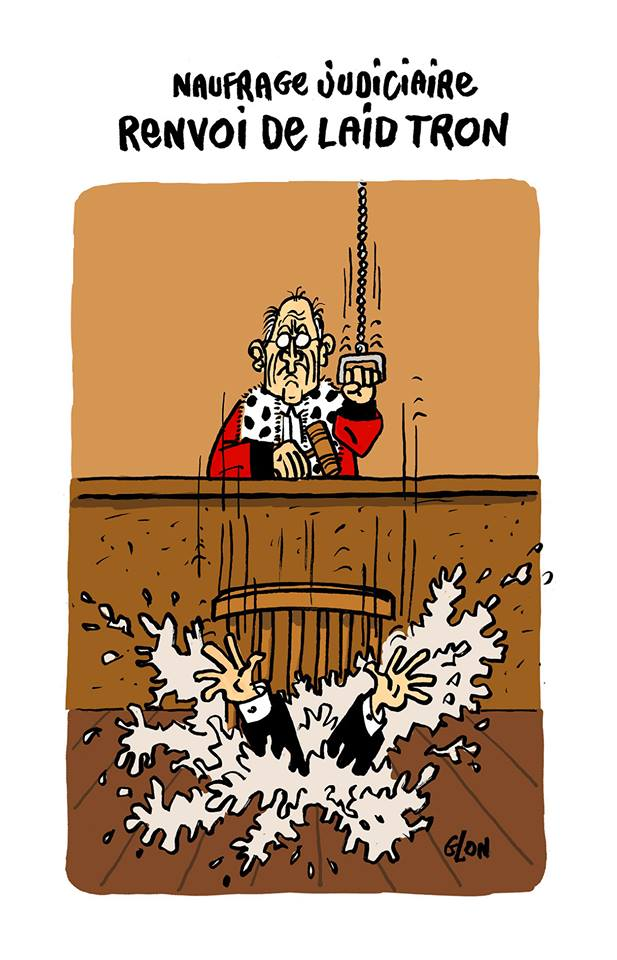 dessin humoristique d'un juge qui tire la chasse sous Georges Tron