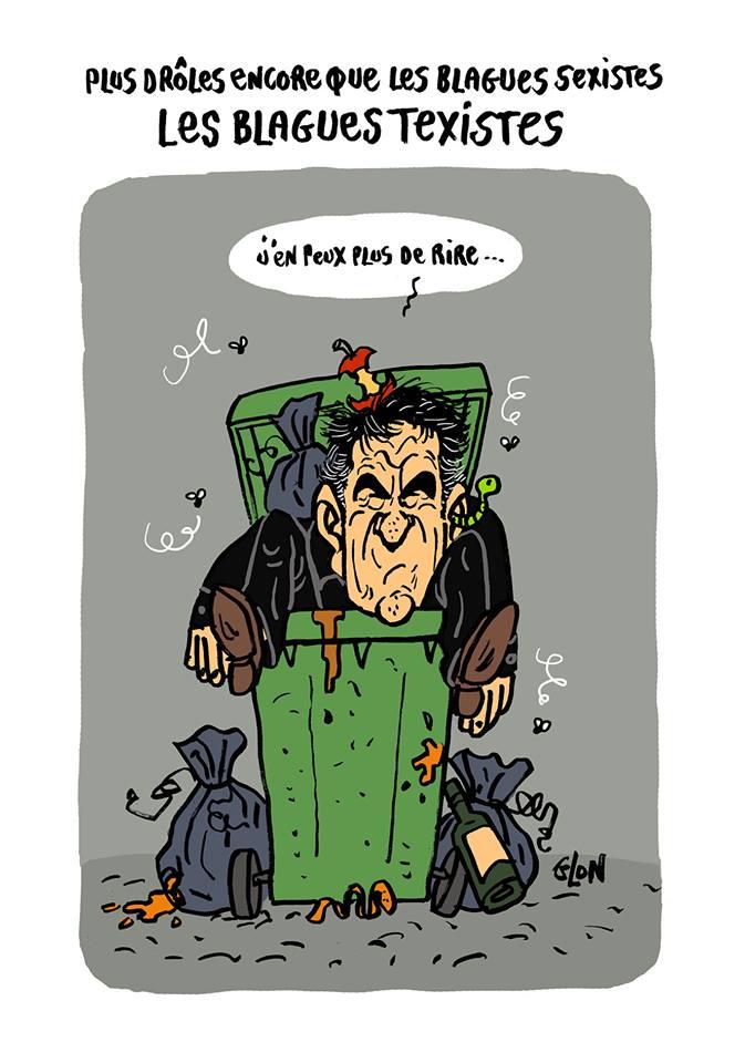 dessin humoristique de Tex dans une poubelle