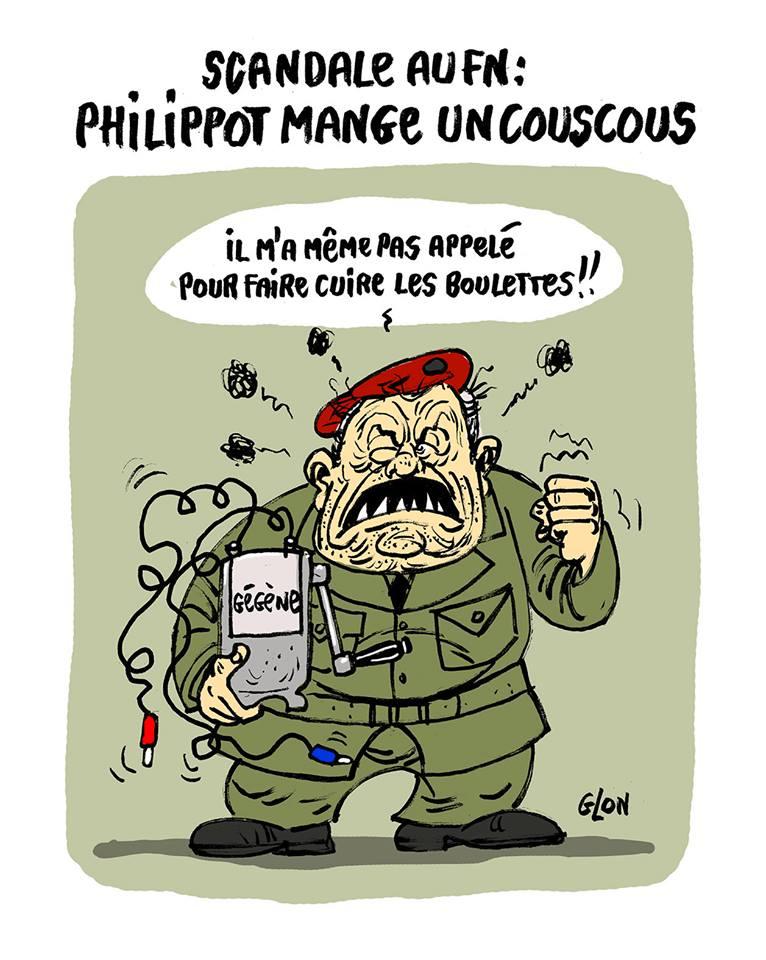 dessin humoristique de Jean-Marie Le Pen en uniforme avec une gégène dans les bras