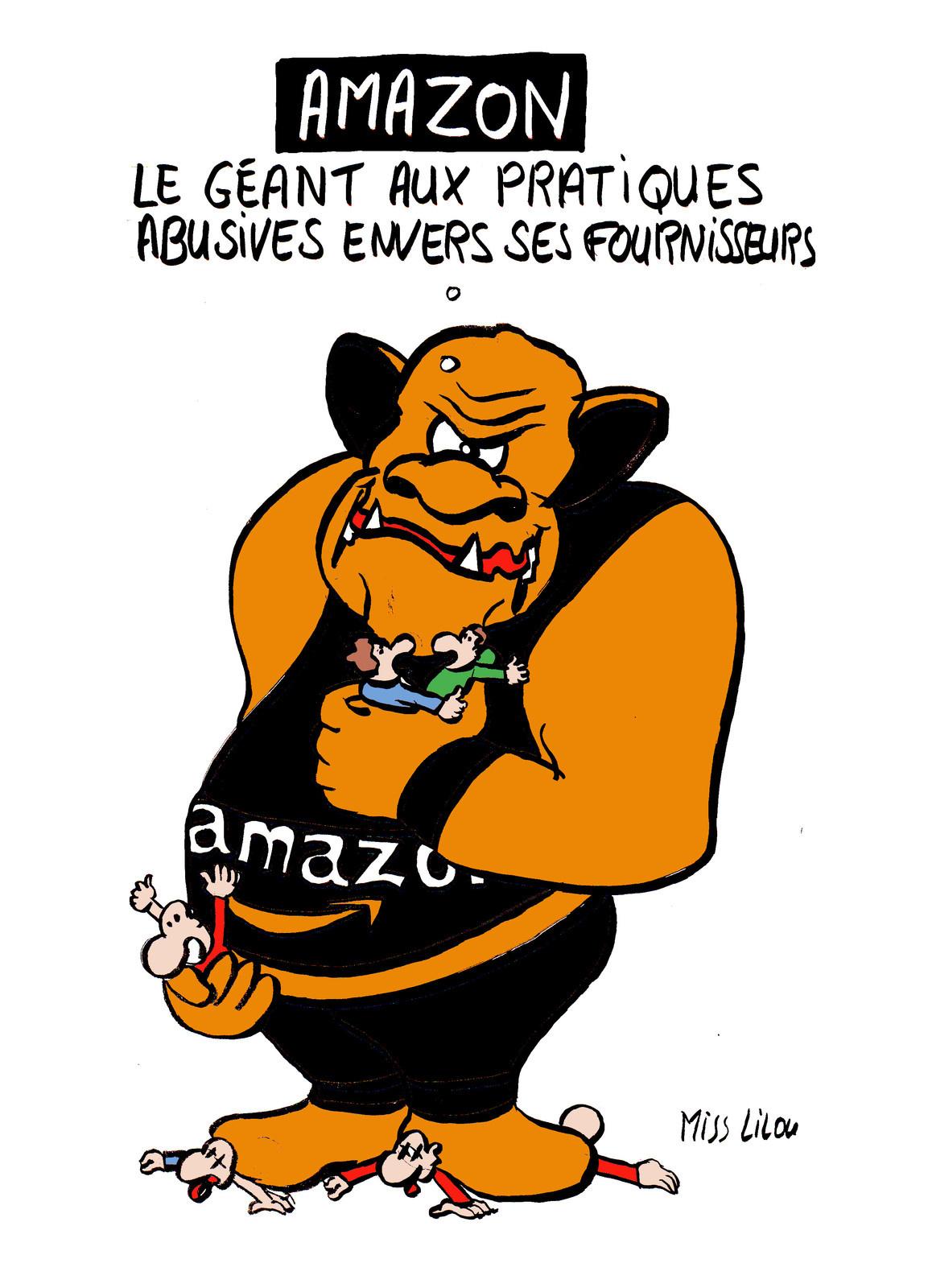 dessin humoristique du troll Amazon écrasant ses fournisseurs