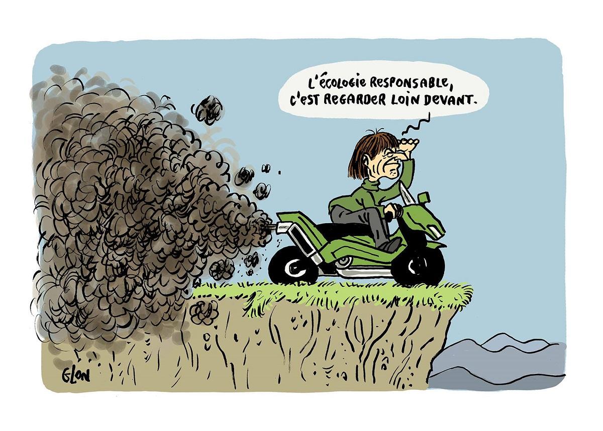 dessin humoristique de Nicolas Hulot au bord d'une falaise sur un scooter vert polluant