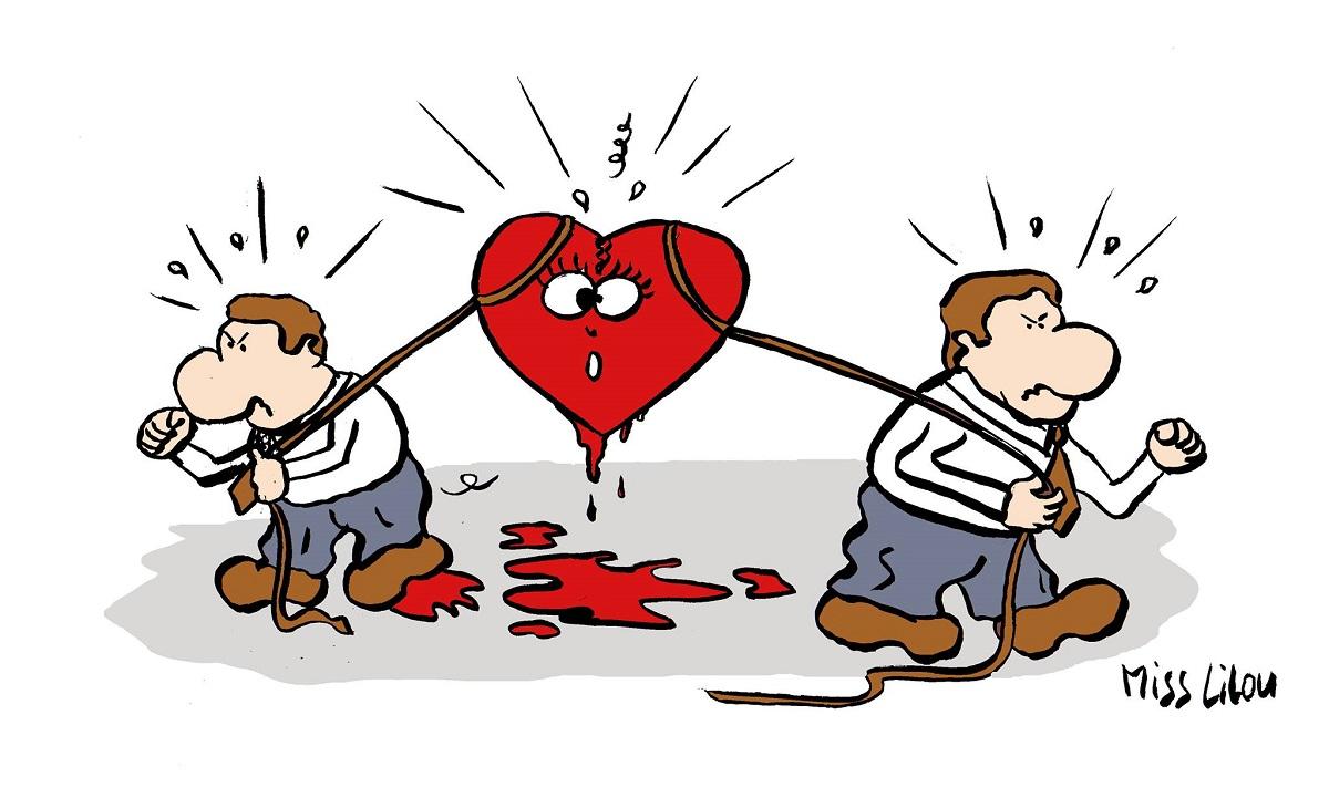 dessin humoristique d'un coeur déchiré par deux hommes