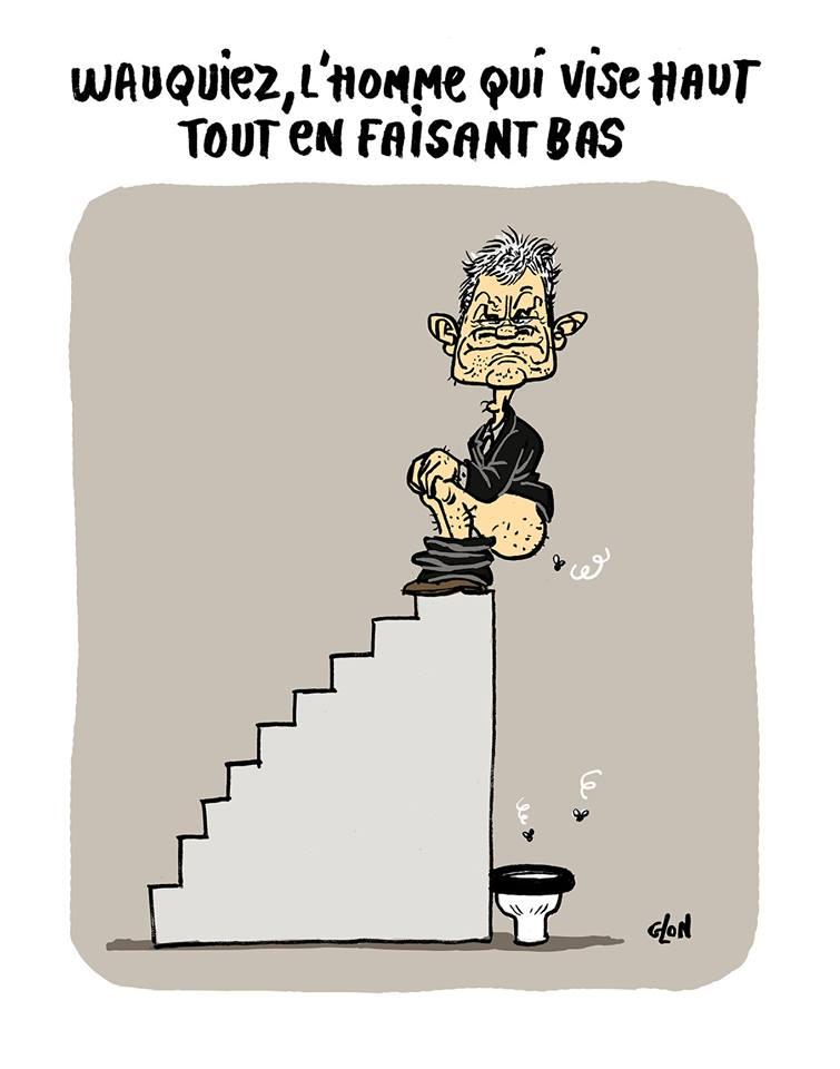 dessin humoristique de Laurent Wauquiez assis sur un escalier pour aller aux toilettes