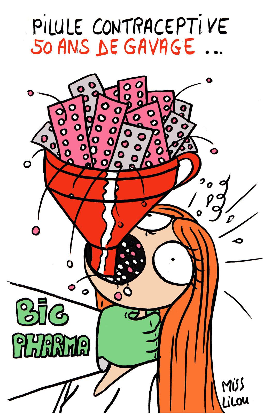 dessin humoristique d'une femme gavée de pilules contraceptives