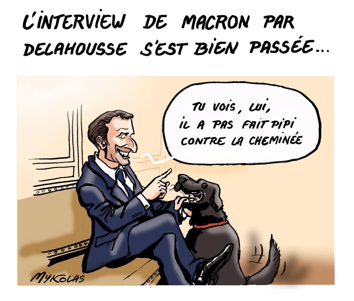 dessin humoristique d'Emmanuel Macron qui parle à son chien Nemo de l'intervieux de Laurent Delahousse