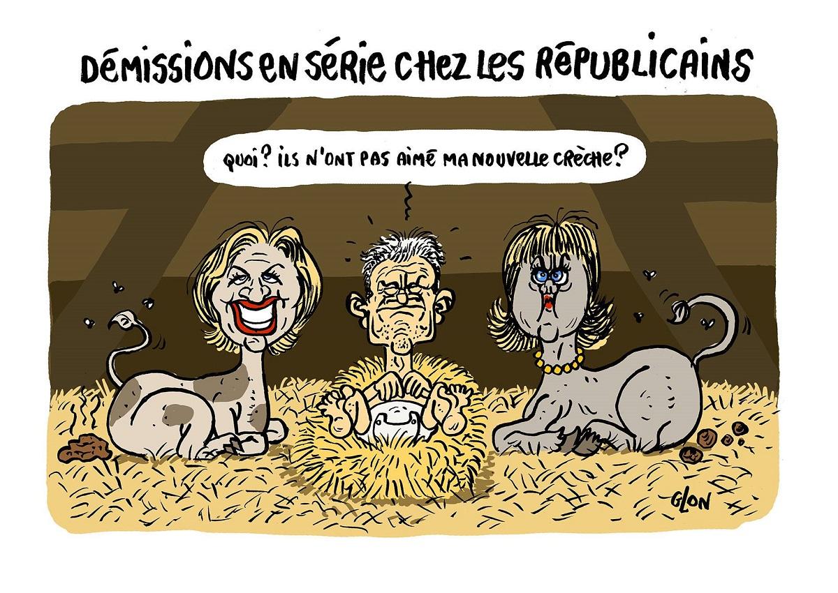 dessin humoristique de la crèche de Noël des Républicains