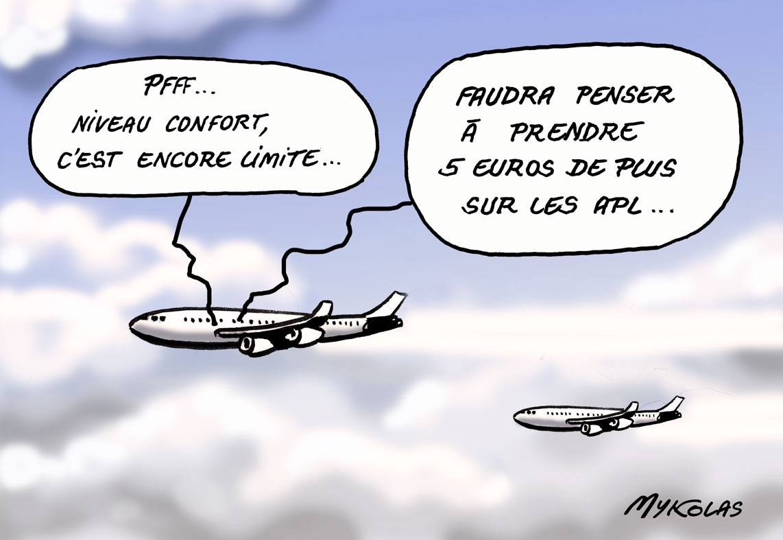 dessin humoristique de l'avion privé loué par Edouard Philippe pour son confort personnel
