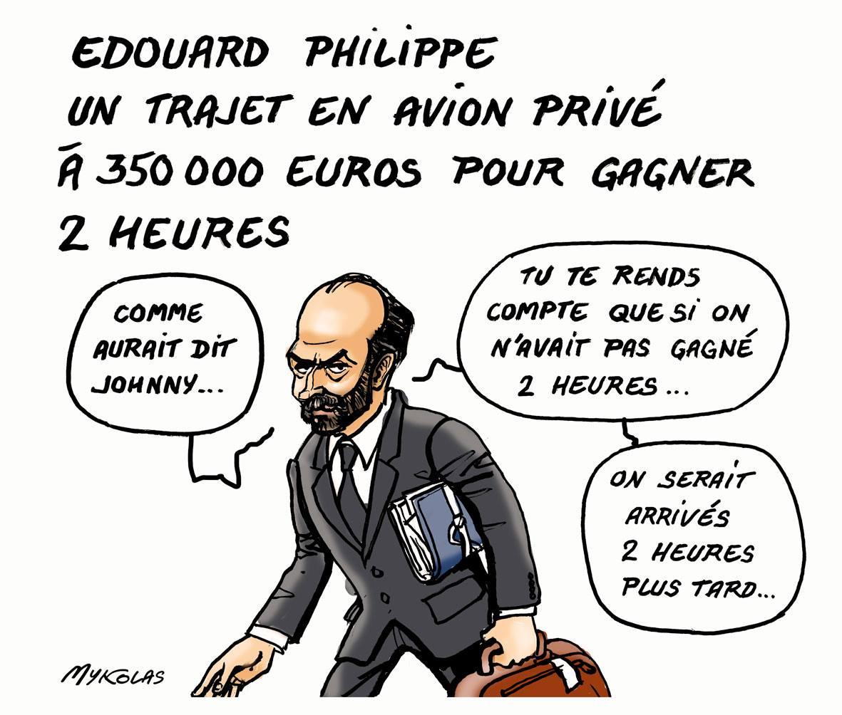dessin humoristique d'Edouard Philippe qui cite Johnny Hallyday pour justifier son voyage à 350.000 euros