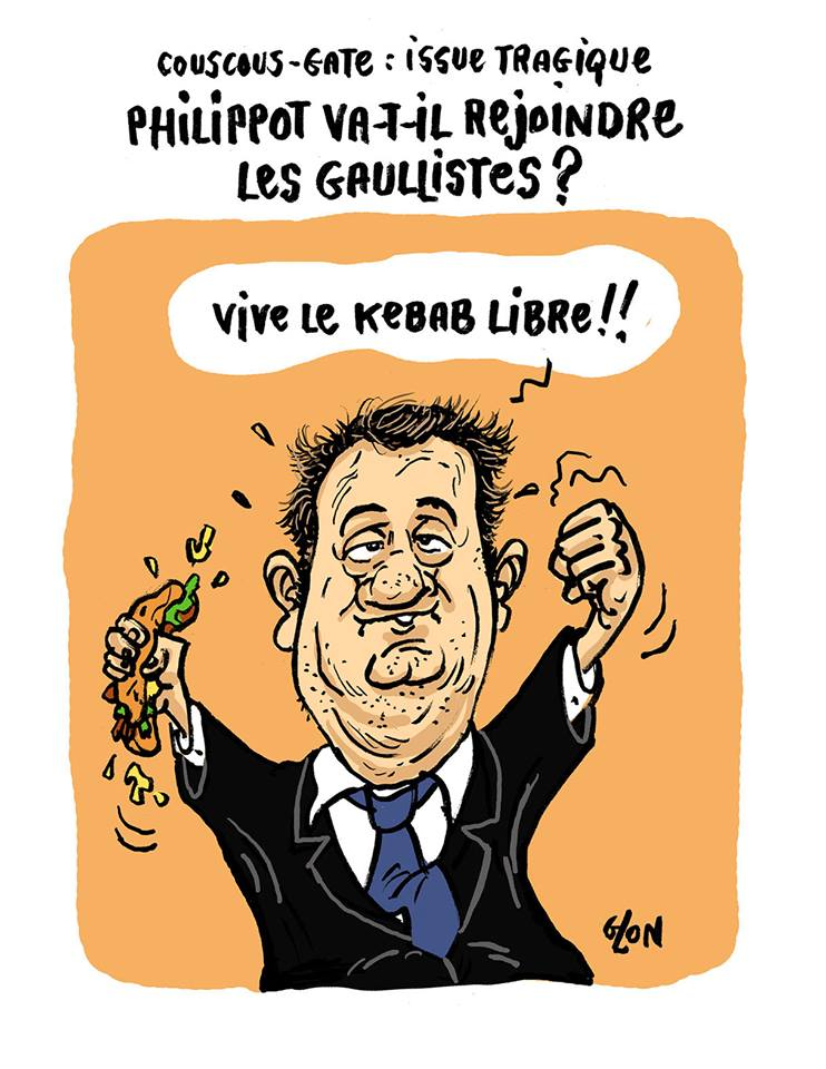 dessin humoristique de Florian Philippot brandissant un kebab