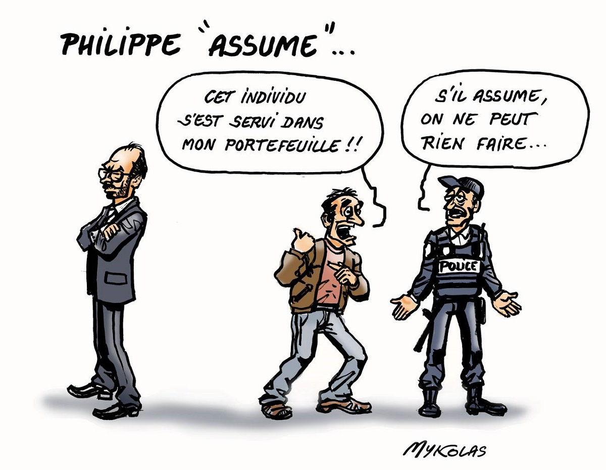 dessin humoristique d'Edouard Philippe accusé de s'être servi dans le portefeuille d'un français
