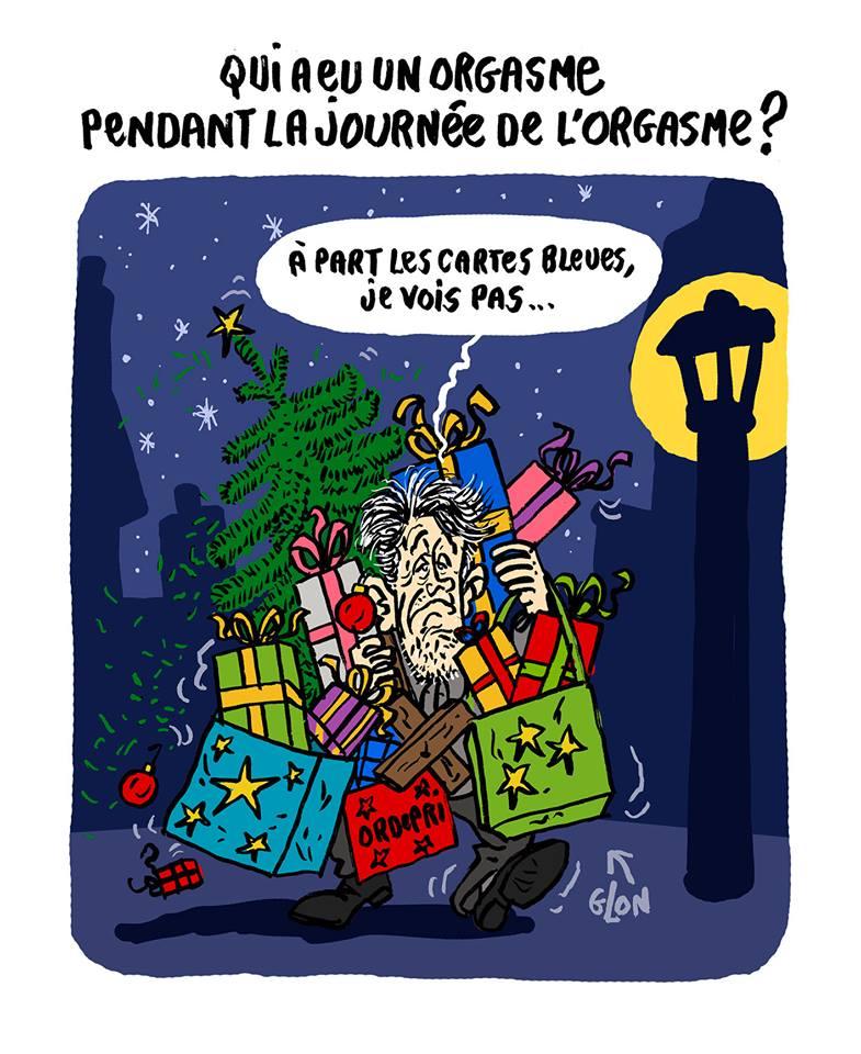dessin humoristique d'un acheteur de Noël croulant sous les cadeaux