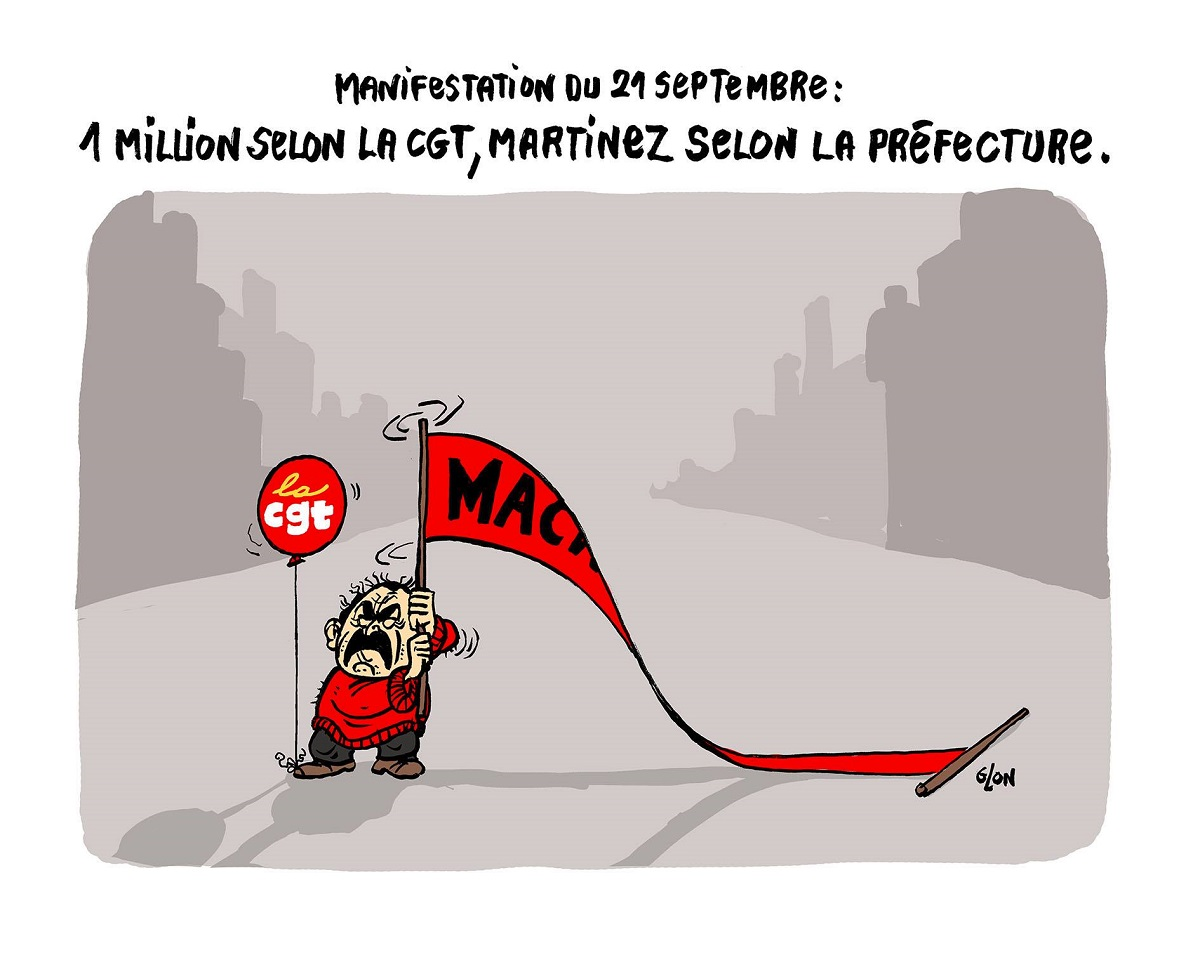 dessin humoristique de Philippe Martinez manifestant tout seul le 21 septembre 2017