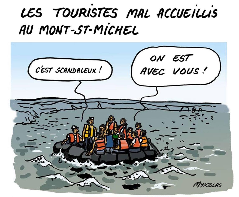 dessin humoristique de migrants partageant la peine des touristes du Mont-Saint-Michel