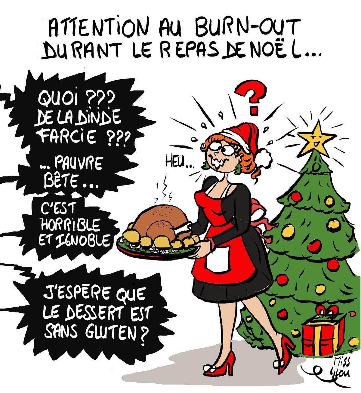 dessin humoristique d'une cuisinière de repas de Noël agressée par ses convives