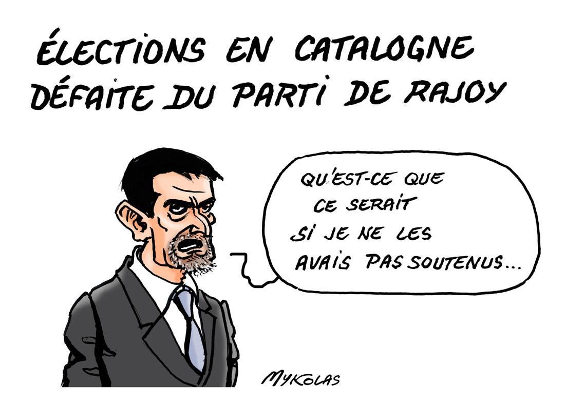 dessin de Manuel Valls qui commente la défaite du parti de Rajoy aux élections en Catalogne