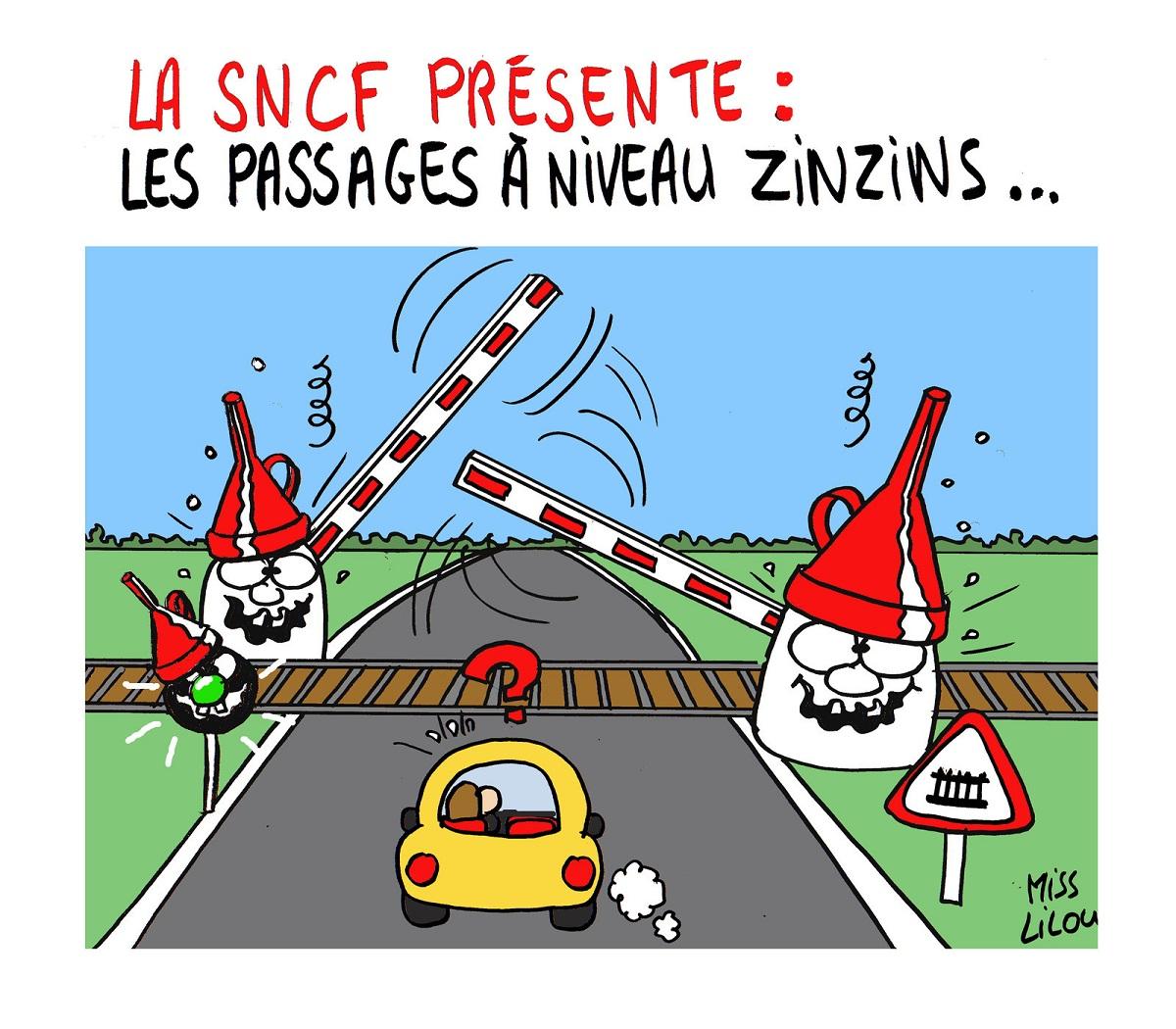 dessin humoristique d'un passage à niveau SNCF complètement zinzin