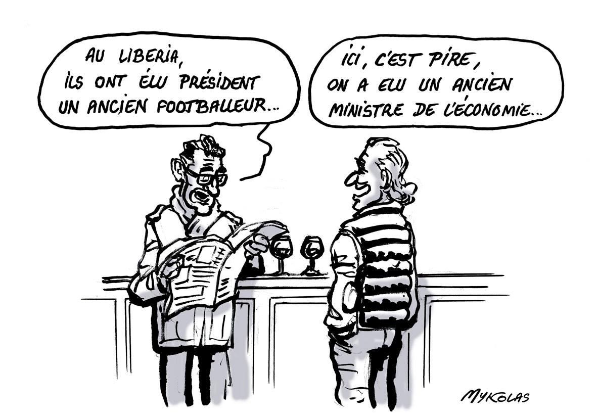 dessin humoristique de deux consommateurs dans un café parlant de l'élection présidentielle au Libéria