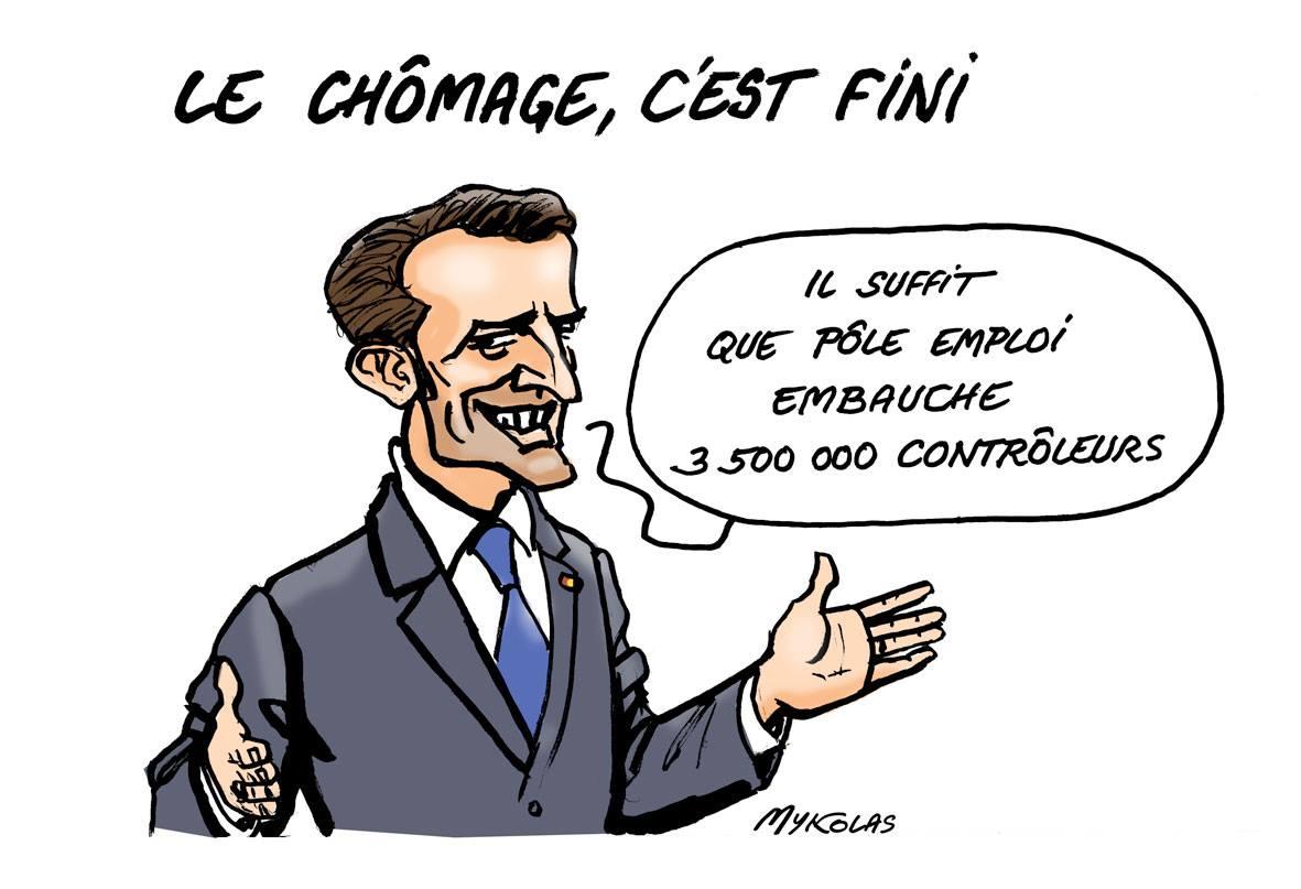 dessin humoristique d'Emmanuel Macron solutionnant le problème du chômage