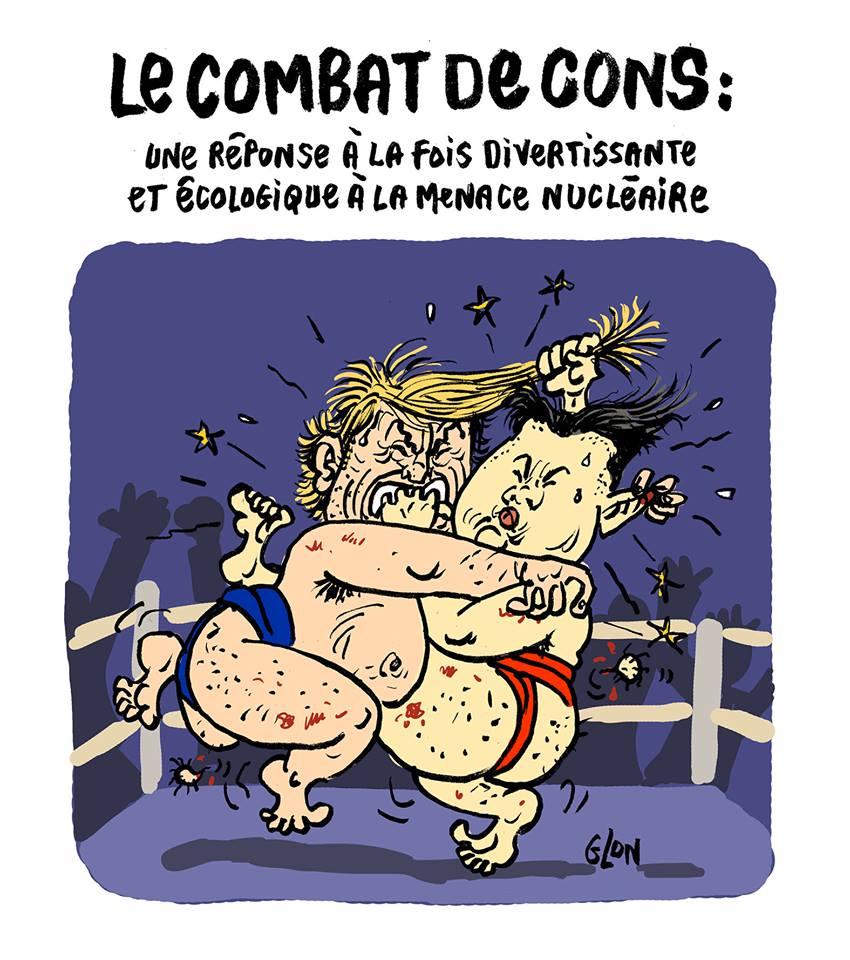 dessin humoristique de Donald Trump et Kim Jong-un s'affrontant sur un ring
