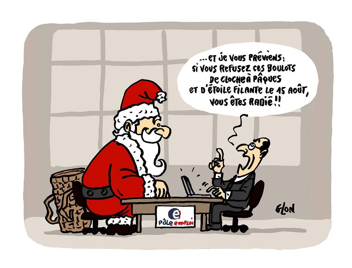dessin humoristique du Père Noël face à un conseiller de Pôle Emploi