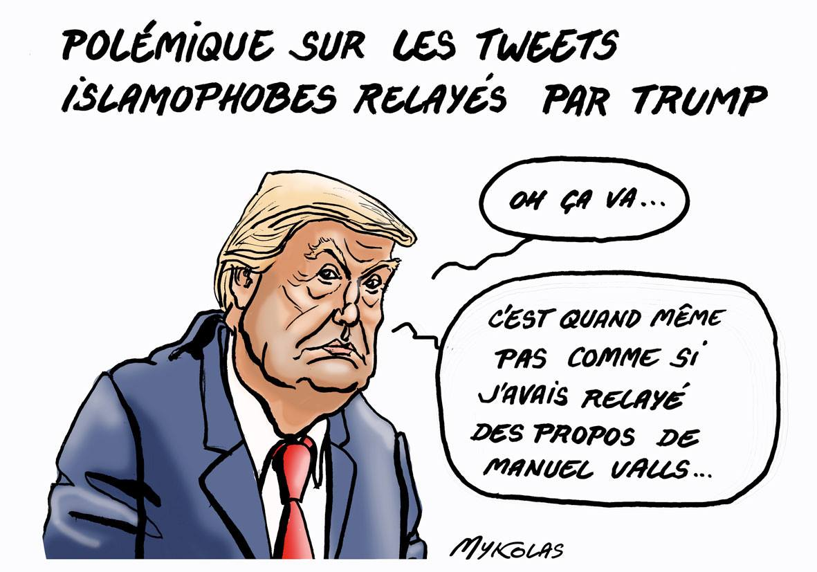 dessin drôle de Donald Trump se justifiant sur les tweets islamophobes
