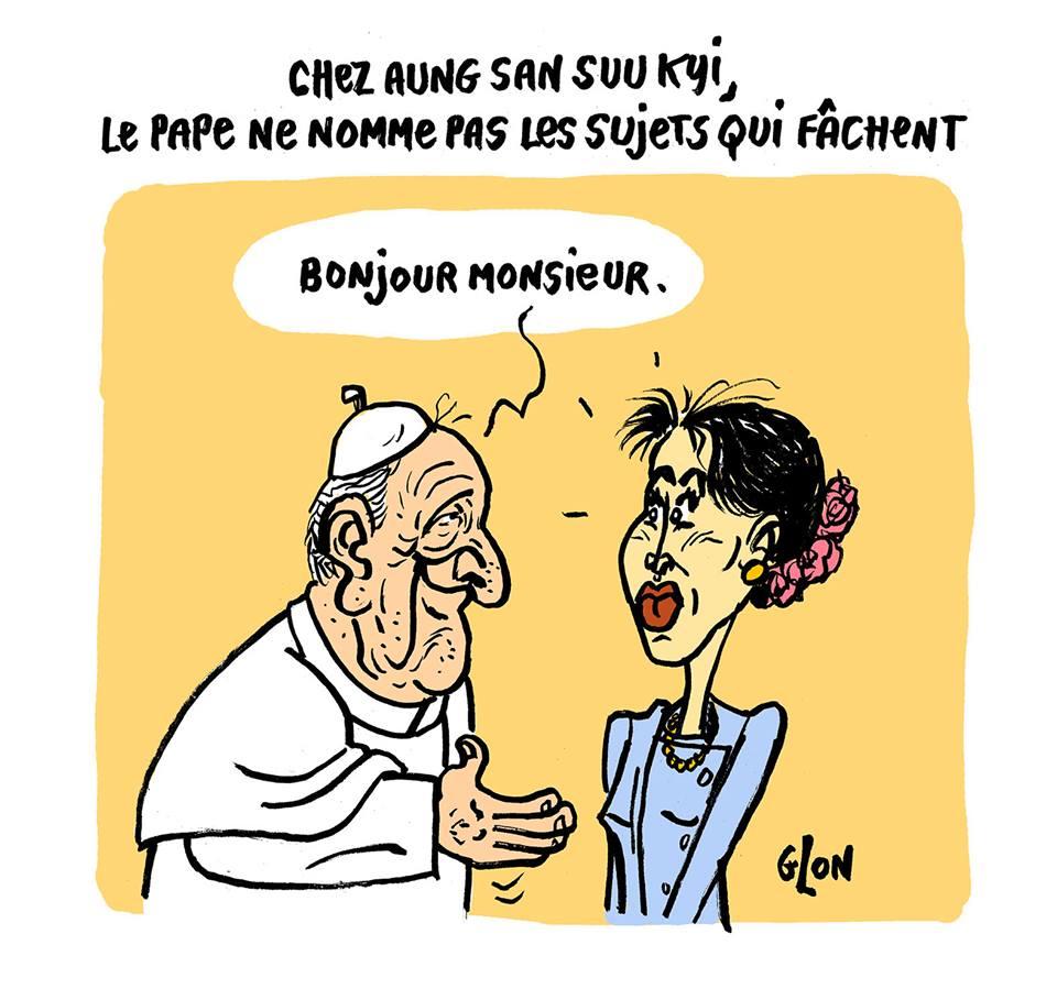 dessin humoristique du Pape François rencontrat Aung San Suu Kyi
