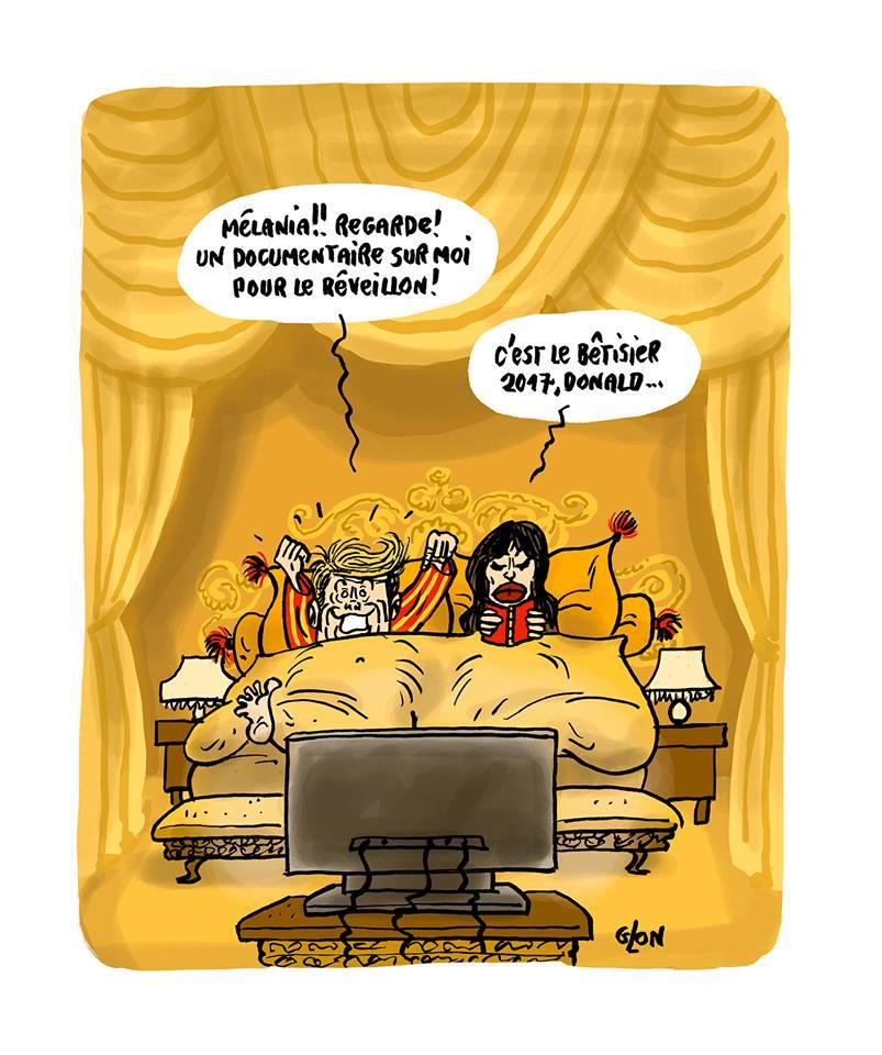 dessin humoristique de Donald et Mélania Trump au lit en train de regarder la télévision