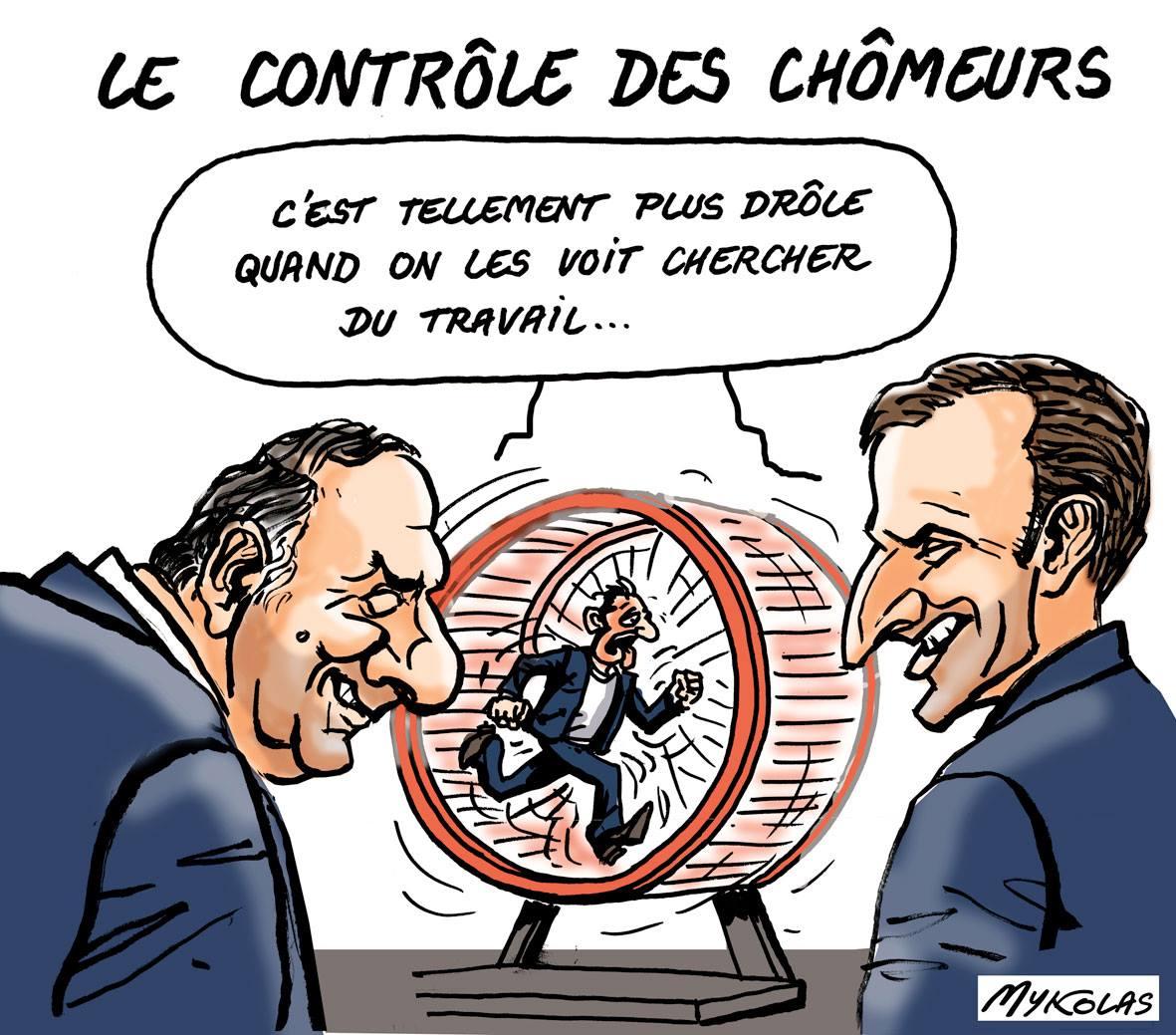 dessin humoristique d'Emmanuel Gattaz et de Pierre Macron en train de regarder un chômeur chercher du travail