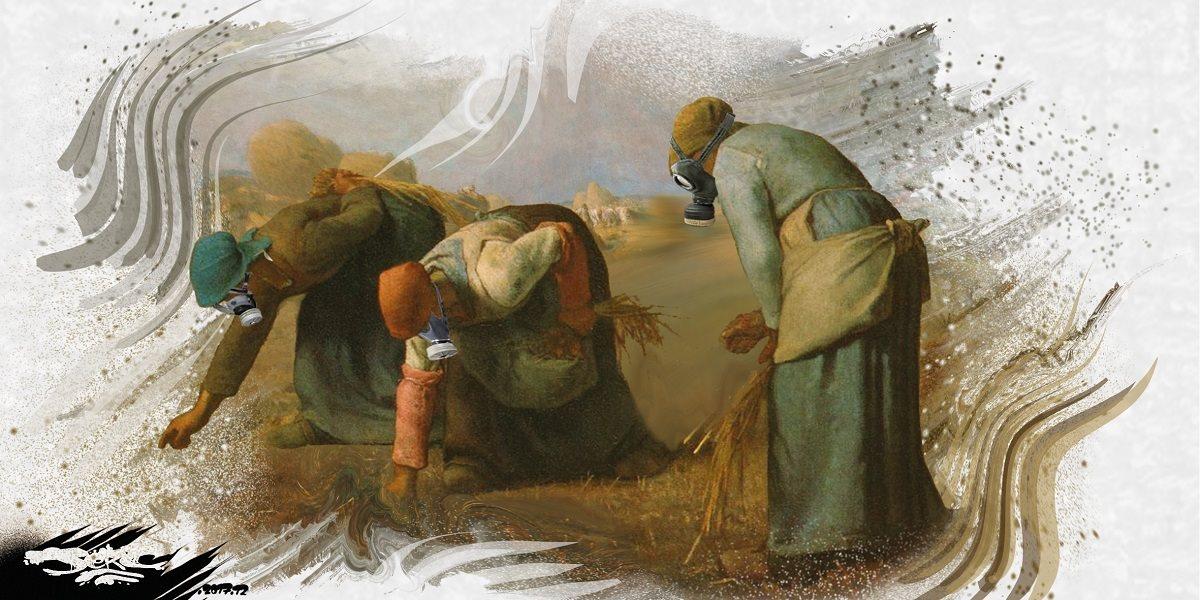 dessin humoristique des glaneuses de Jean-François Millet avec des masques à gaz pour le glyphosate