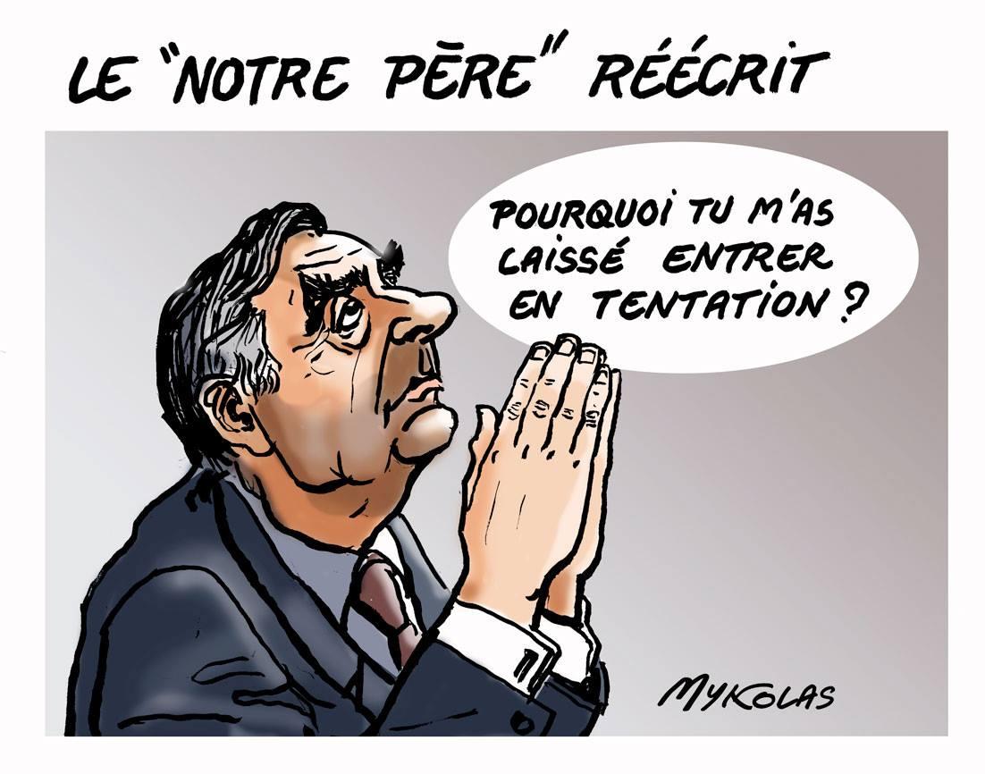 dessin humoristique de François Fillon en train de demander à Dieu pourquoi il l'a laissé entrer en politique