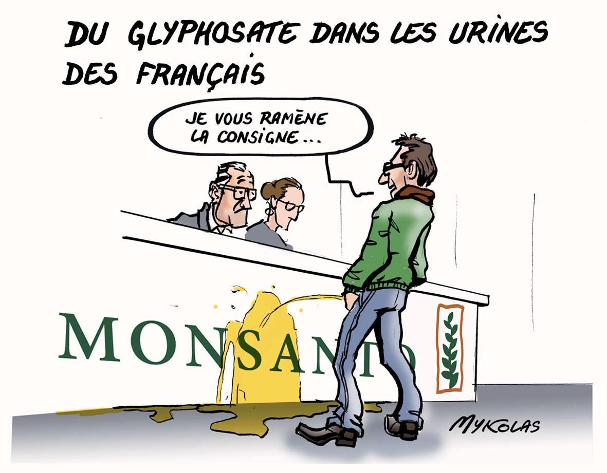 dessin humoristique d'un français qui vient uriner du glyphosate dans les locaux de Monsanto