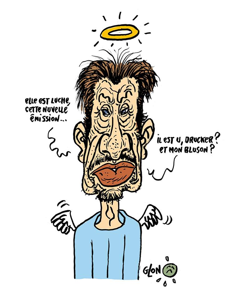 dessin humoristique de Johnny Hallyday au Paradis