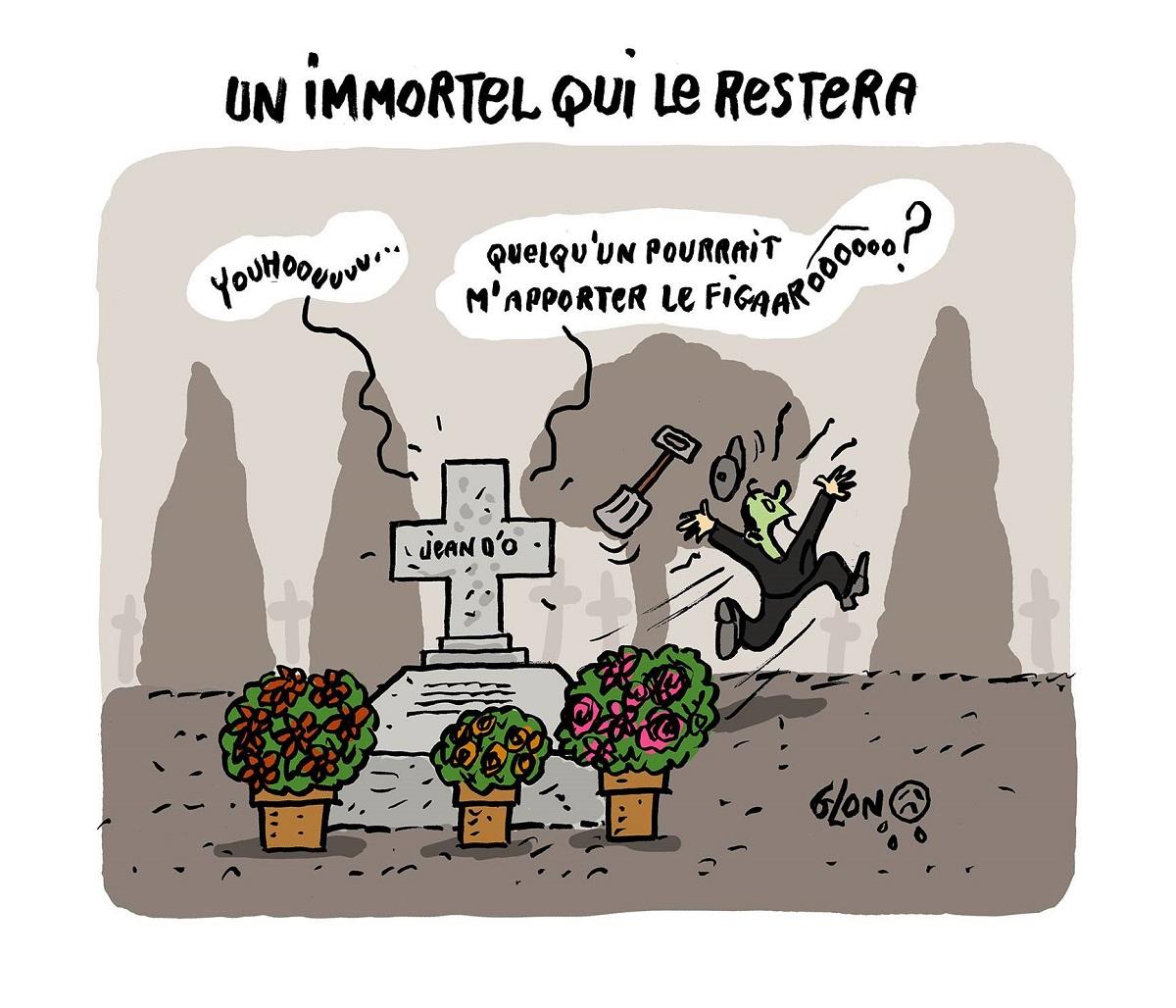 dessin drôle de Jean d'Ormesson qui demande le Figaro depuis sa tombe