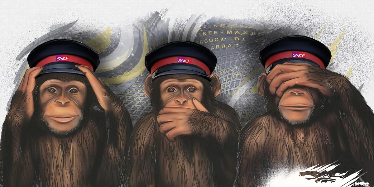 dessin humoristique de la direction de la SNCF : des singes qui ne veulent rien entendre, rien dire et ne rien voir