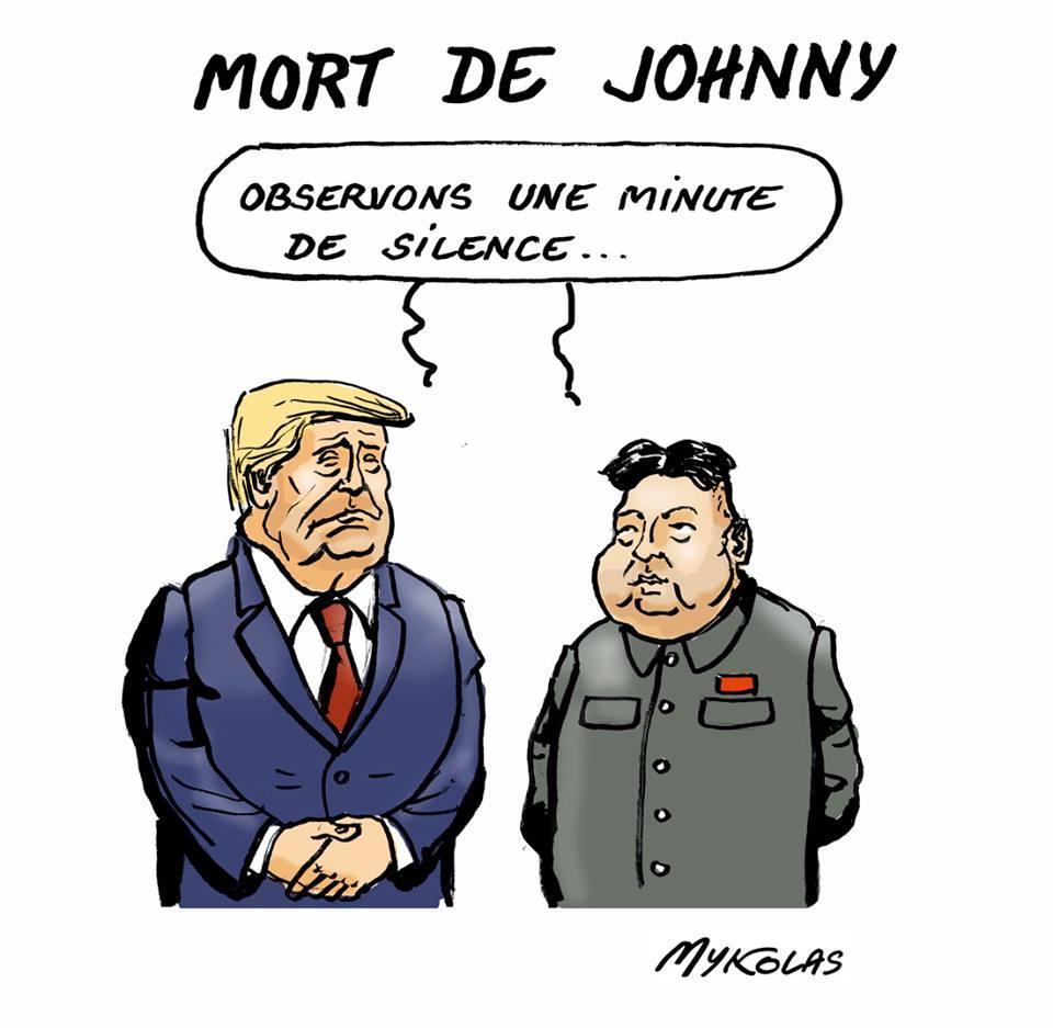 dessin humoristique de Donald Trump et Kim Jong-un observant une minute de silence pour la mort de Johnny Hallyday