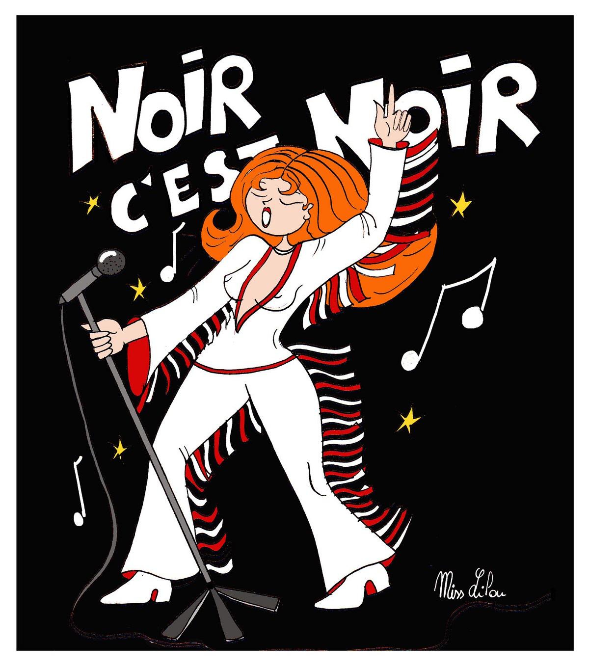 """dessin humoristique d'une chanteuse en train d'interprèter """"Noir c'est noir"""" de Johnny Hallyday"""