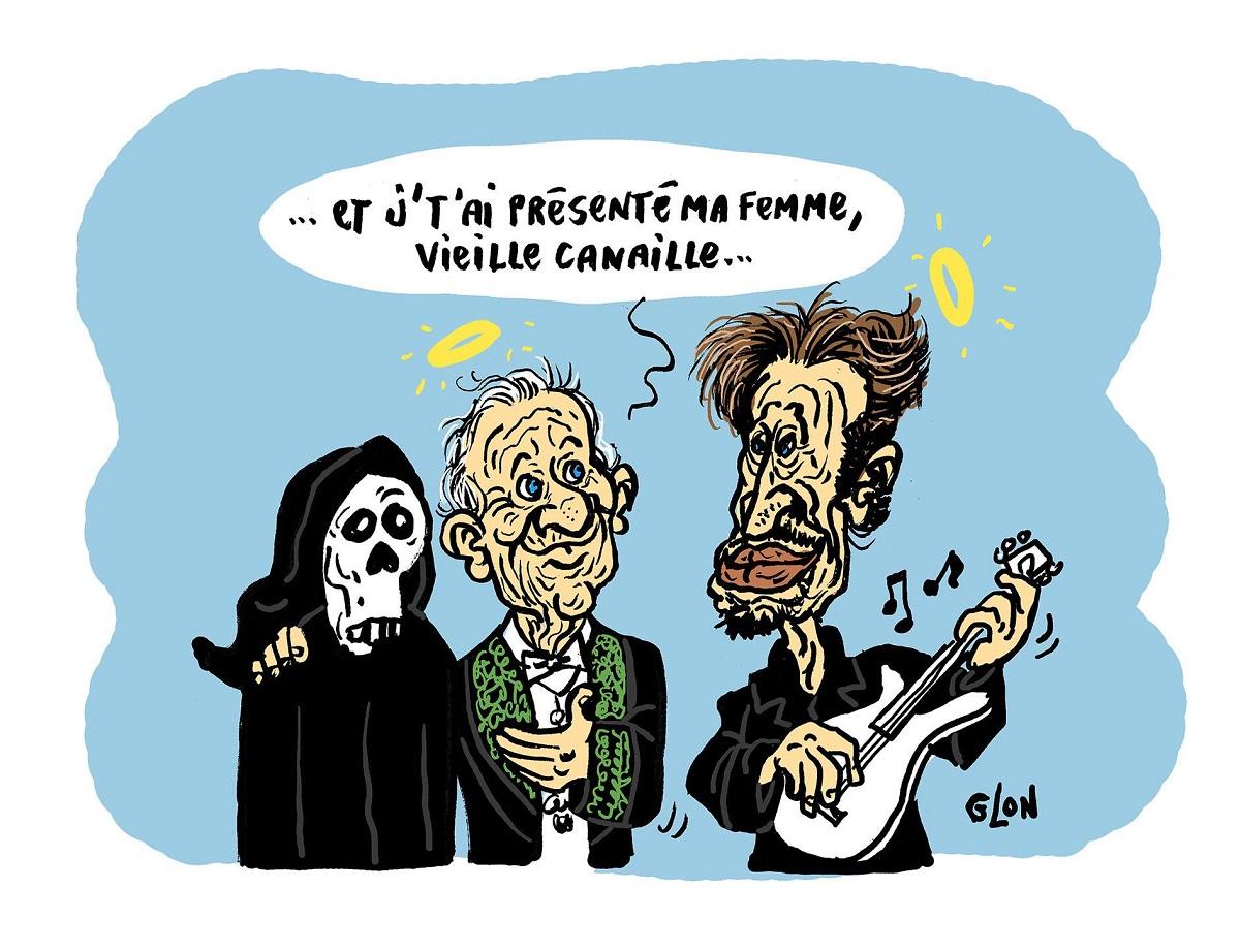 dessin humoristique de Jean d'Ormesson au Paradis en train de présenter sa femme la mort à Johnny Hallyday