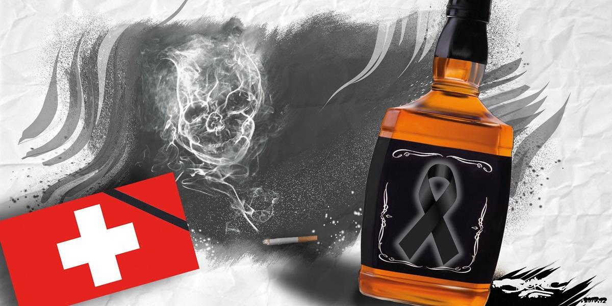 dessin humoristique du drapeau Suisse, d'une cigarette cancérigène et d'une bouteille de whisky