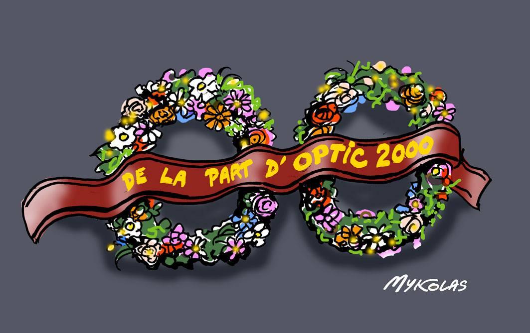 dessin humoristique de couronnes mortuaires de la part d'Optic 2000 pour Johnny Hallyday
